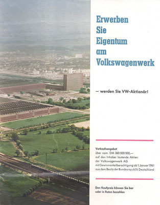 De brochure over de beursgang van Volkswagen in 1961.