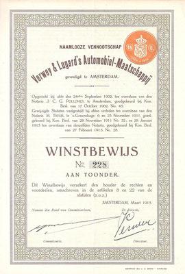 Een winstbewijs N.V. Verwey & Lugard's Automobiel-Maatschappij uit 1915 met de handtekening van Verwey.
