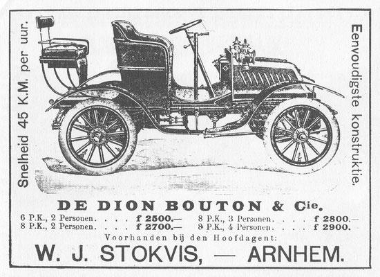 Nederlandse advertentie De Dion Bouton uit 1905.