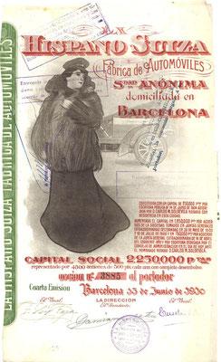 Aandeel (acción) La Hispano Suiza Fabrica de Automóviles S.A. uit 1910, 4e emissie.
