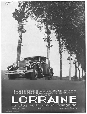 Advertentie Lorraine in l'Illustration 1933.