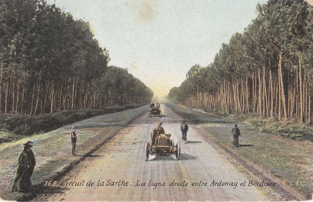 Het Circuit de la Sarthe, waar vanaf 1923 de 24 uur van Le Mans werd verreden. Een postkaart uit 1907.