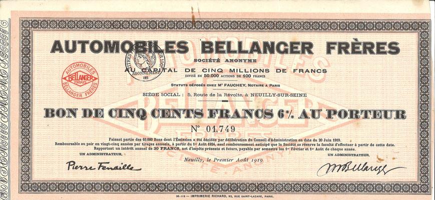Obligatie Automobiles Bellanger Frères S.A. uit 1919.