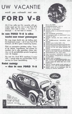 Nederlandse advertentie voor de Ford V8 uit 1935.