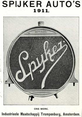 Een advertentie voor Spyker uit 1911.