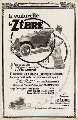 Een advertentie van Le Zèbre.