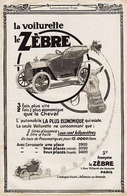 Advertentie van Le Zèbre.