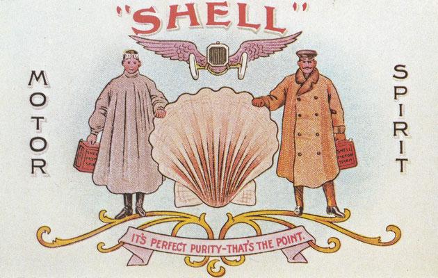 Dit is één van de posters van Shell uit  de Edwardian tijd. De 2 gallon (9 liter) can voor brandstof werd algemeen gebruikt in Engeland, bij veel auto's werd deze bevestigd op de treeplank.
