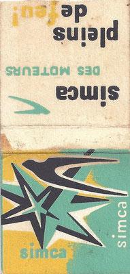 Een kaartje afbreeklucifers uitgegeven door Simca.