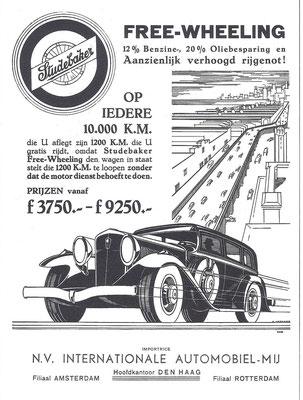 Nederlandse advertentie voor Studebaker uit 1931.