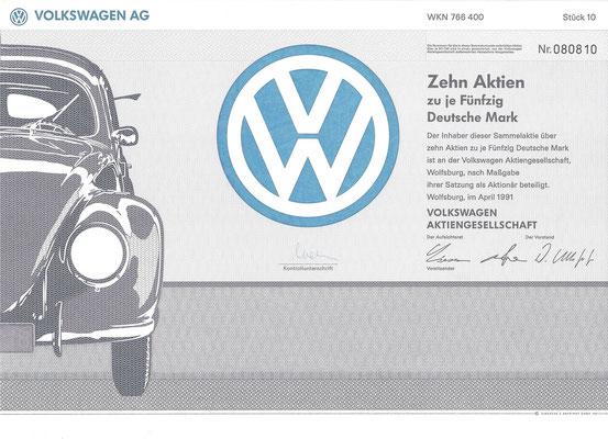 Aandelen (Aktien) DM 500 Volkswagen A.G. Wolfsburg uit 1991.