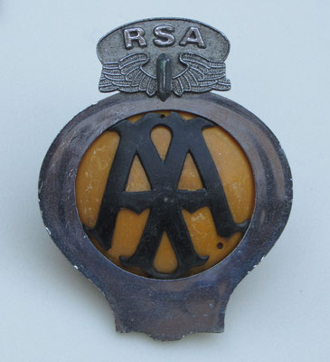 Embleem van de Engelse Automobile Association (AA) voor de Republik South Africa (RSA).