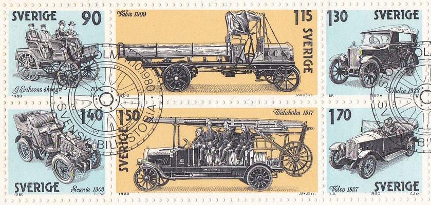 Postzegels Zweden uit 1980. Zweedse automobiel geschiedenis.