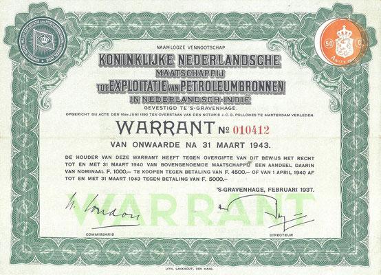 Een Warrant N.V. Koninklijke Nederlandsche  Maatschappij tot Exploitatie van Petroleumbronnen in Nederlandsch-Indië uit 1937.