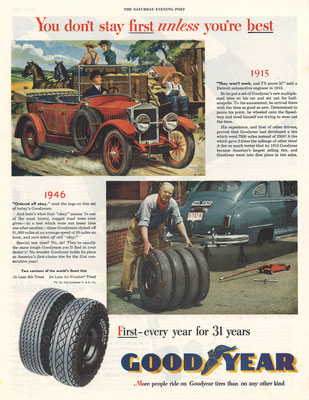 Advertentie Goodyear in The Saturday Evening Post uit 1946.
