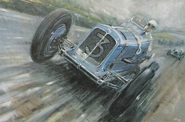 Een ERA (Englisch Racing Automobiles) tijdens een voiturette race in de dertiger jaren.
