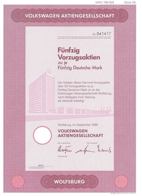 Aandelen (Aktien) DM 2.500 Volkswagen A.G. Wolfsburg uit 1986.