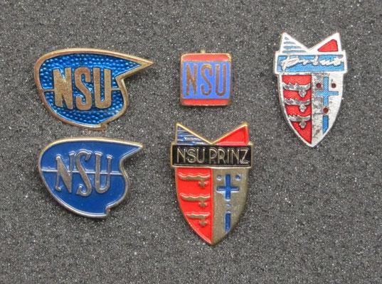 NSU speldjes, de 2 speldjes linksboven zijn geëmailleerd.