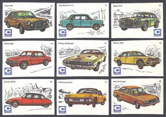 Centra lucifers, auto's, 1970, nr. 10-18.
