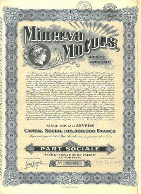 Aandeel Minerva Motors S.A. uit 1931.
