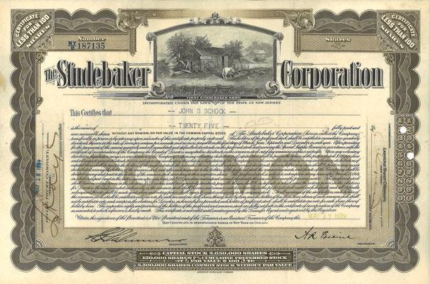Certificaat voor 25 aandelen The Studebaker Corporation uit 1929.
