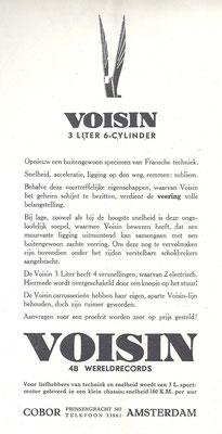 Nederlandse advertentie voor Voisin uit het weekblad De Auto jaargang 1932.