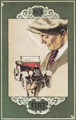 Een postkaart van Fiat uit 1919 ontworpen door G. Minetti.