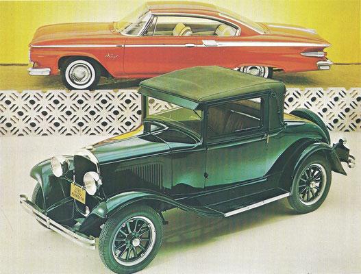 De eerste Plymouth van 1928 met daarachter de Plymouth Fury van 1961.