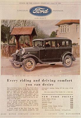 Een Engelse advertentie voor Ford uit 1931.
