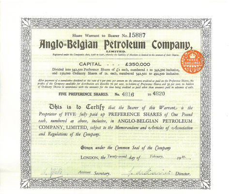 Een warrant voor 5 aandelen Anglo-Belgian Petroleum Company, Ltd. uit 1929.
