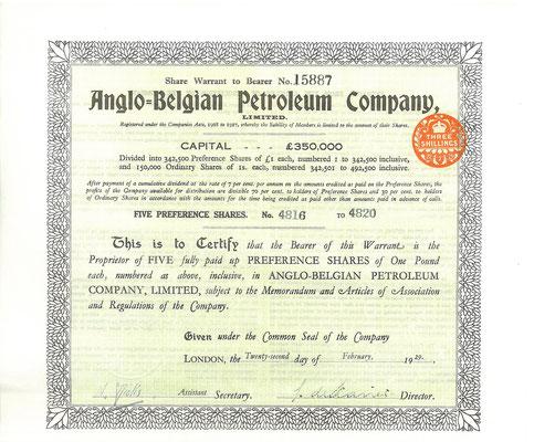 Warrant voor 5 aandelen Anglo-Belgian Petroleum Company, Ltd. uit 1929.