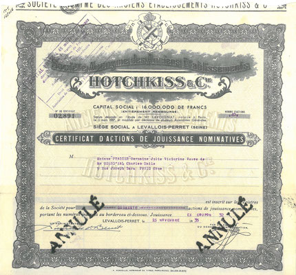 Een aandeel S.A. des Ancièns Établissements Hotchkiss & Cie uit 1935.