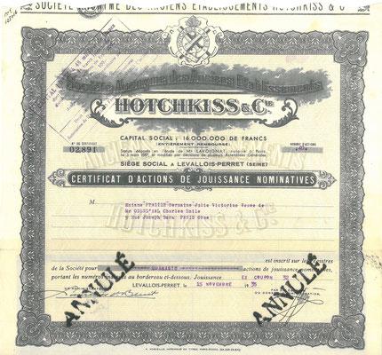 Aandeel S.A. des Ancièns Établissements Hotchkiss & Cie uit 1935.