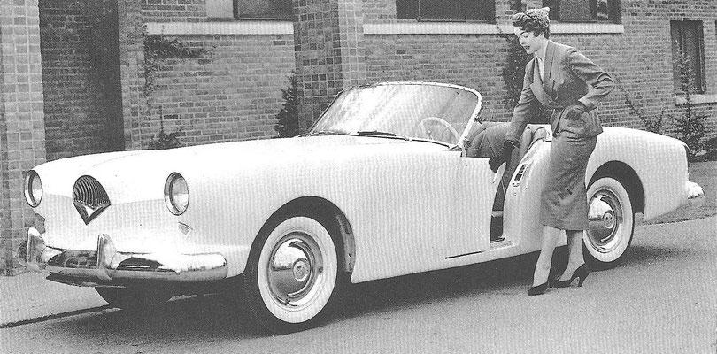Een Kaiser Darrin cabriolet uit 1953.