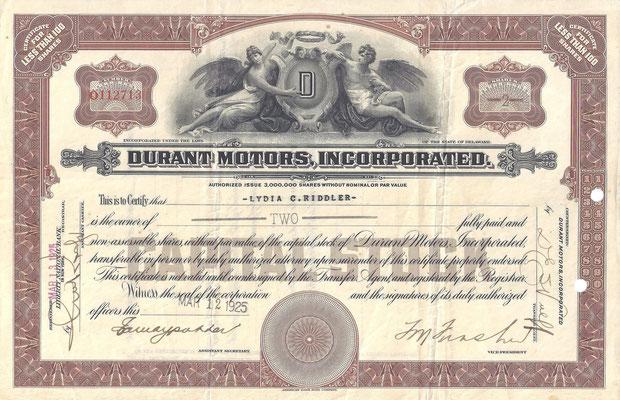 Certificaat voor 2 aandelen Durant Motors, Incorporated uit 1925.