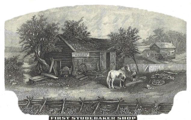 De eerste werkplaats van Studebaker, afgebeeld op een aandeel The Studebaker Corporation.