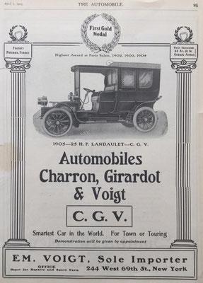 Amerikaanse advertentie voor C.G.V. uit 1905.