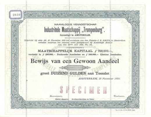 """Aandeel N.V. Industriëele Maatschappij """"Trompenburg"""" uit 1898 (specimen)."""