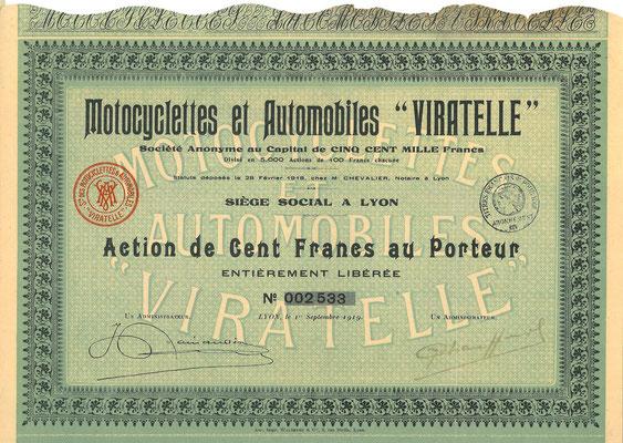 """Aandeel Motocyclettes et Automobiles """"Viratelle"""" S.A. uit 1919."""