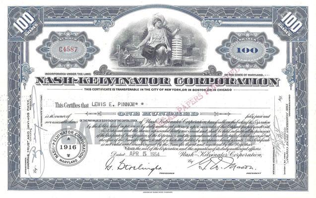 100 Aandelen Nash-Kelvinator Corporation uit 1954.
