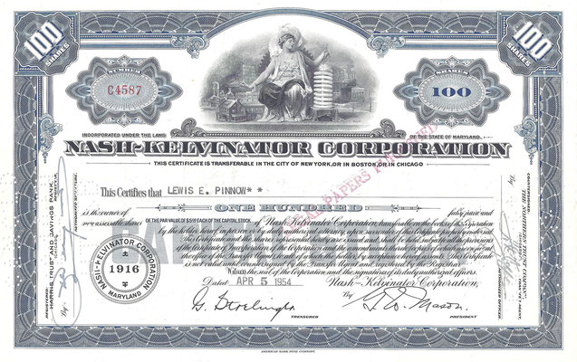 Certificaat voor 100 aandelen Nash-Kelvinator Corporation uit 1954.