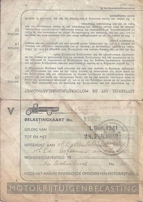 Een belastingkaart uit 1941 voor een motorrijtuig (1).