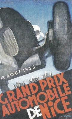 Een affiche voor een Grand Prix van Nice in 1929, ontworpen door Henri Delval.