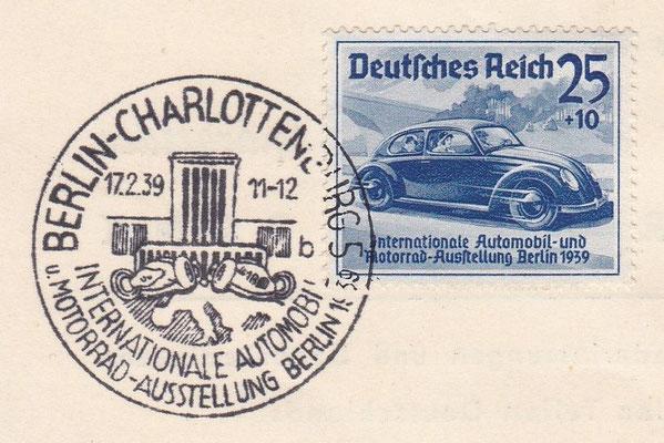 Postzegel Internationale Automobil und Motorrad Ausstellung Berlin 1939 met speciaal stempel.