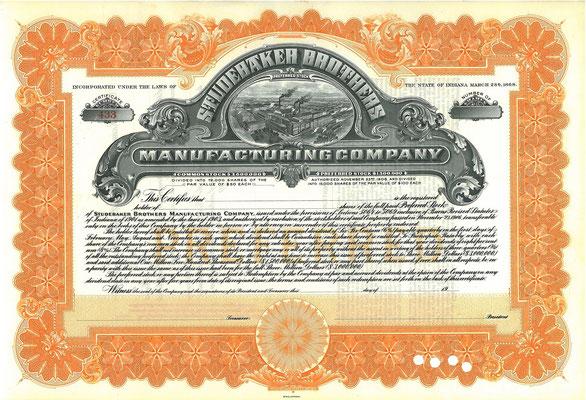 Certificaat voor aandelen Studebaker Brothers Manufacturing Company van vóór 1910 (Blanket).