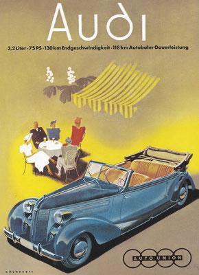 Reclame ontworpen door Victor Mundorff  voor de Audi  type 920.