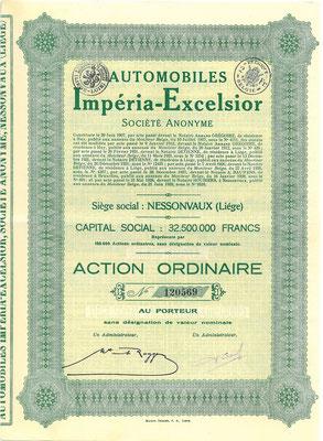 Aandeel Automobiles Impéria-Excelsior S.A. uit 1928. Kapitaal 32.500.000 Francs.