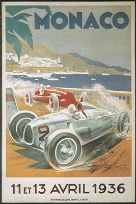 Omslag van het programma voor de Grand Prix van Monaco 1939, kunstwerk van Geo Ham. De eerste Grand Prix van Monaco werd in 1929 verreden.