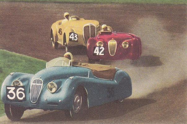 Sportwagenrace op het circuit van Zandvoort. Fotoplaatje uit het verzamelalbum uit het grote Blue Band Sportboek 40 Sporten en spelen in woord en beeld uit 1955.