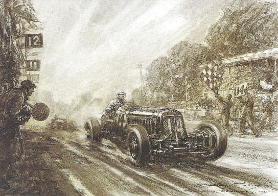 Raymond Mays wint in 1937 op Donington met een ERA (English Racing Automobiles). Een kunstwerk van Gordon Crosby.